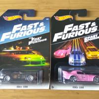 Hotwheels Honda S2000 Fast and Furious Pink Suki & Black Johnny Tran