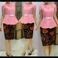 Dress Midi/Mini/Gaun/Setelan Batik Brukat/Brokat/Lace Cantik Modern