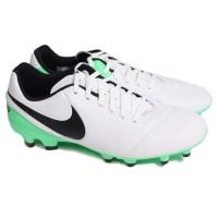Sepatu Bola Nike Tiempo Genio Ii Leather Fg - White Black Electro Gree