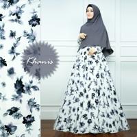 PUTIH ABU Gamis Set Bunga Melati Khanis Syari Baju Busana Muslimah