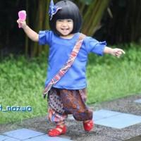 Ethnic Salsa Biru 8th Setelan Baju Batik Anak Baju Pesta Batik Modern