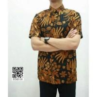 Kemeja Batik Sogan Lengan Pendek Jokowi Batik Murah Seragaman Grosir P