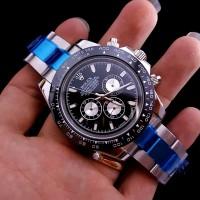 Jam Tangan Pria ROLEX Cosmograph Daytona Ring BLACK Dial SILVER Steel