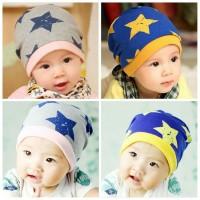Topi kupluk anak motif bintang import perkiraan untuk usia 0-3 tahun