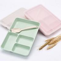 Lunch Box sehat Wheat Straw Korea (Tidak menggunakan Plastik) + SENDOK