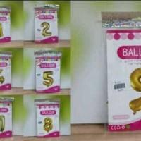 BALON EMAS ANGKA 0 - 9 /GOLD NUMBERS CANDLES / PARTY BALLONS / BLN0-9G