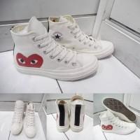 Sepatu Converse All Star Chuck Taylor CDG Play Love High Canvas White