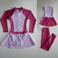Baju Renang Muslimah Anak TK Garis Ungu Pink