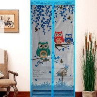 L001 Tirai magnet pintu OWL magnet pinguin sdh terpasang BIRU OWL