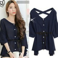 FINNY RO BLOUSE WANITA TWISCONT NAVY - BEST PRODUCT