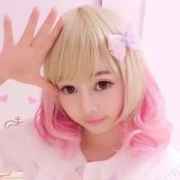 WIG Lolita ombre gradasi blonde pink gyaru harajuku lolita ulzzang