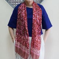 Syal Sutra Salur Batik 30x185 MM Merah Pink / Selendang / Scarf
