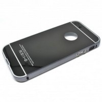Aluminium Bumper with Mirror Back Cover for iPhone 5c Black