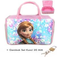 Tas Travel Kanvas Jumbo Frozen Anna Sakura + Set Gembok Kunci 20 Grc02