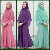 Gamis Hijab Maxi Dress Busui Cheris Oki 3 in 1 Dress Pasmina Bros
