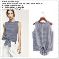 Baju Atasan Garis Stripe Hitam Putih Blouse Pita Wanita Korea Import