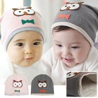 Topi Kupluk Anak import Motif Burung Hantu Owl Bahan Bagus Cowok Cewek