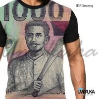 Kaos uang seribu rupiah 1000 rupiah uang lama gambar kapitan Pattimura