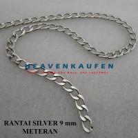 Rantai Silver Lebar 9 mm Meteran Untuk Rantai Clutch Dompet Dll