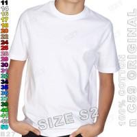 Size-S2 n C59 Original K5-14 Kaos Distro Polos Anak Cotton Putih