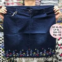 Jual Rok Jeans Big Size Import Bordir MERLY 2 Warna XL - 5XL Murah