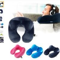 Bantal Leher Tiup + Penyangga Kepala / Pillow Inflatable Neck Travel