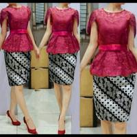 Dress Midi/Mini/Setelan Batik Combi Brukat/Brokat/Lace Cantik Modern