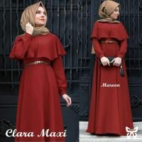 clara maxi hijab cape maroon+belt T13