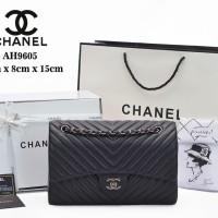 Tas Chanel Chevron So Black Flap Medium HITAM Semi Premium AH9605 986f1cf86b