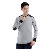 Kaos Lengan Panjang Pria polos warna kombinasi pundak siku (65D17)