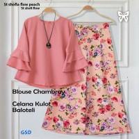 stelan shofia flow peach/set shofi flow/stelan baju celana kulot batik
