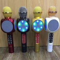 SPEAKER MIC MICROPHONE BLUETOOTH V-MAX K-05 KARAOKE FOR SMULE LED RED