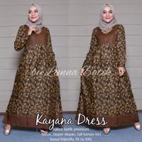 Jual Baju Terusan Wanita Muslim Longdress Batik Kayana Dress Murah