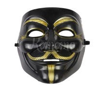 Mask V For Vendetta Guy Fawkes Anonymous Hitam/Topeng Anonymous Black