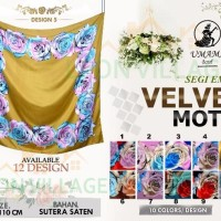 Modern Kerudung Segi Empat VELVET UMAMA Hijab Jilbab Motif D C5 terb