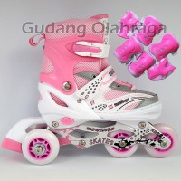 Sepatu Roda BAJAJ Pink + Deker / Pelindung Inline Skate Murah