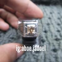 cincin perak berlian fashion men simpel mata satu