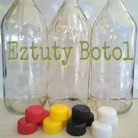 Botol kaca 1000ml lengkap dengan tutup dan segel