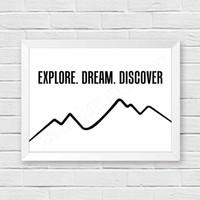 wall quotes kata bijak motivasi: explore dream discover