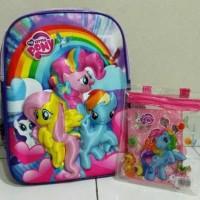 Jual Tas ransel sekolah anak timbul 3D & set alat tulis Little Pony murah Murah