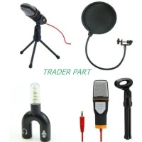 Paket Mic Microphone Condenser Pop Filter Splitter For Smule Vlog