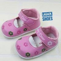 Sepatu anak usia 1-3 thn perempuan soft pink motif bunga lucu SKU-SABB