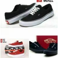 Sepatu Casual Pria Vans Authentic Hitam Dan Marun Full Black Sekolah