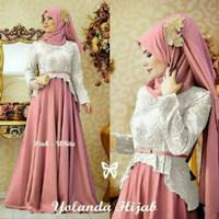Baju Muslimah/Long Dress/Maxidress Emboss Combi Jersey Cantik Elegant