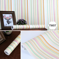 Grosir Murah -Wallpaper Sticker Dinding Garis Warna-Warni Ceria