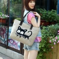 Cute Cat Kanvas Tote Bag / Tas Totebag