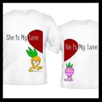 Kaos Couple Tulisan Gambar Wortel ABCP03 Kualitas Distro Pasangan