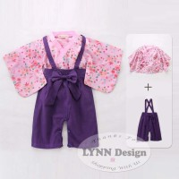 Setelan Kostum Kimono yukata jepang anak 2-7 tahun pink ungu
