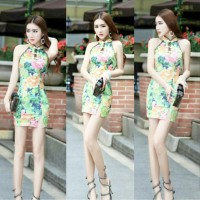 JES-PS0708 mini dress cheongsam import korea-baju dress imlek wanita