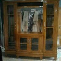 lemari tv kaca kayu jati model minimalis